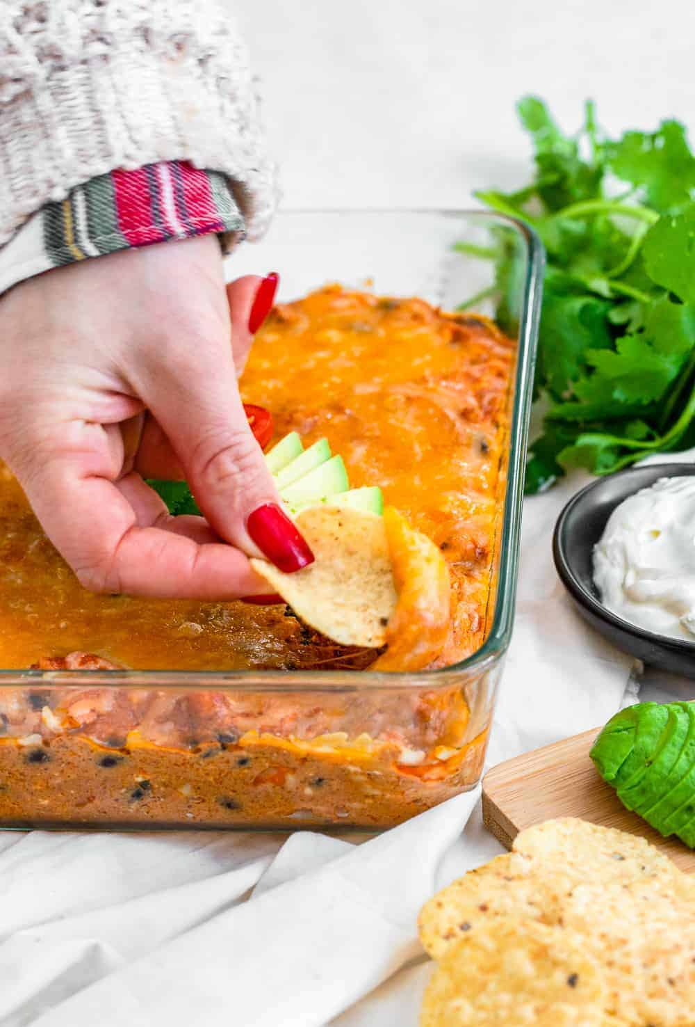 nachos in chicken enchilada dip