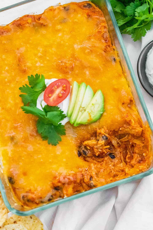 top down shot of chicken enchilada dip
