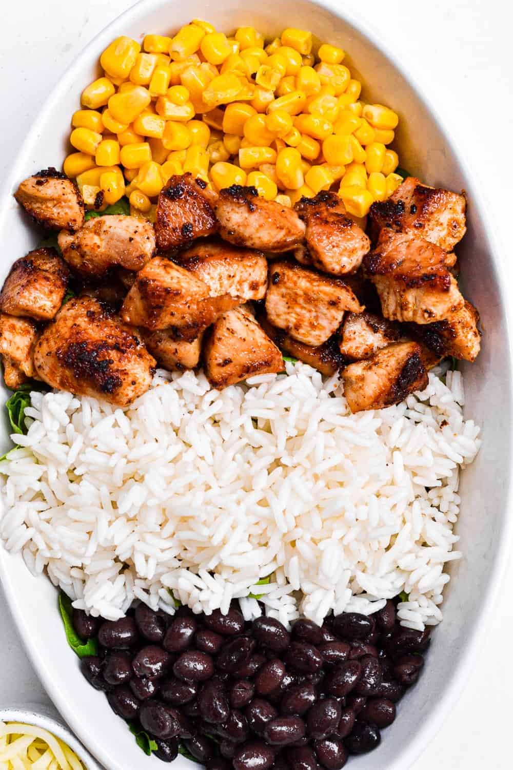 sweetcorn rice and chicken in bowl