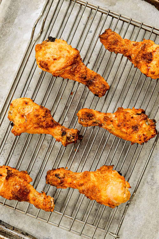 crispy oven fried chicken on rack