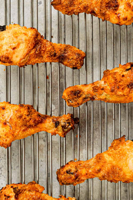top down shot of crispy oven fried drumsticks