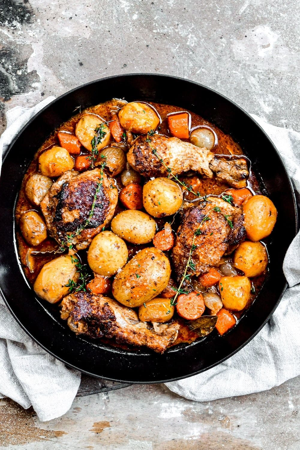 top down shot of chicken stew with potatoes