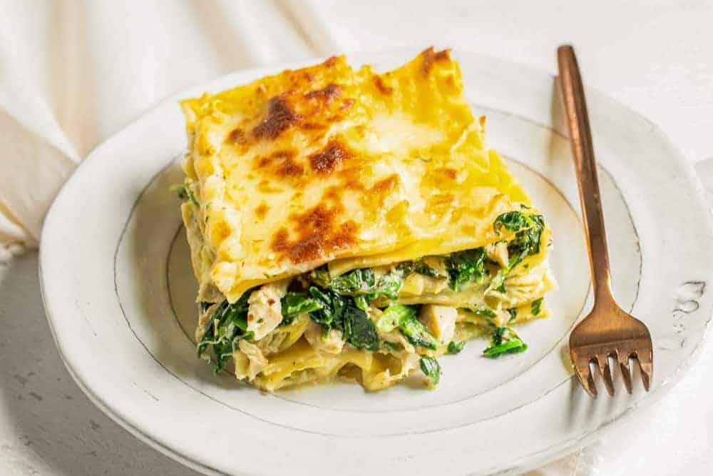 a slice of lasagna on plate