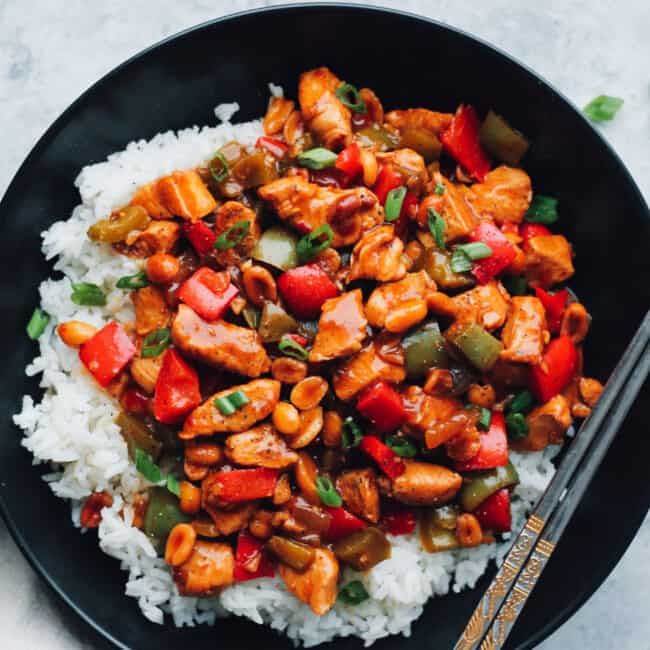 kung pao chicken over rice