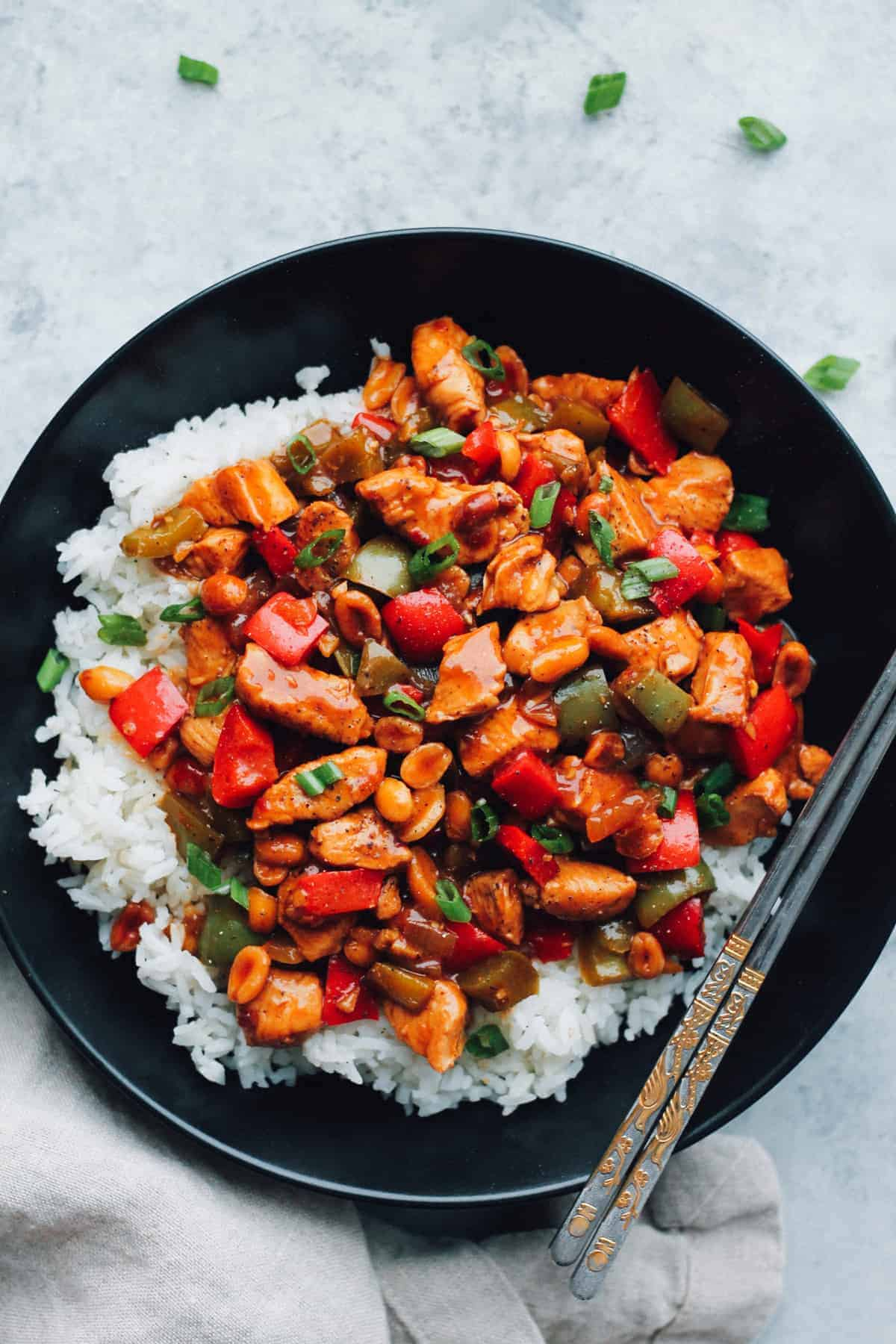 kung pao chicken recipe in bowl