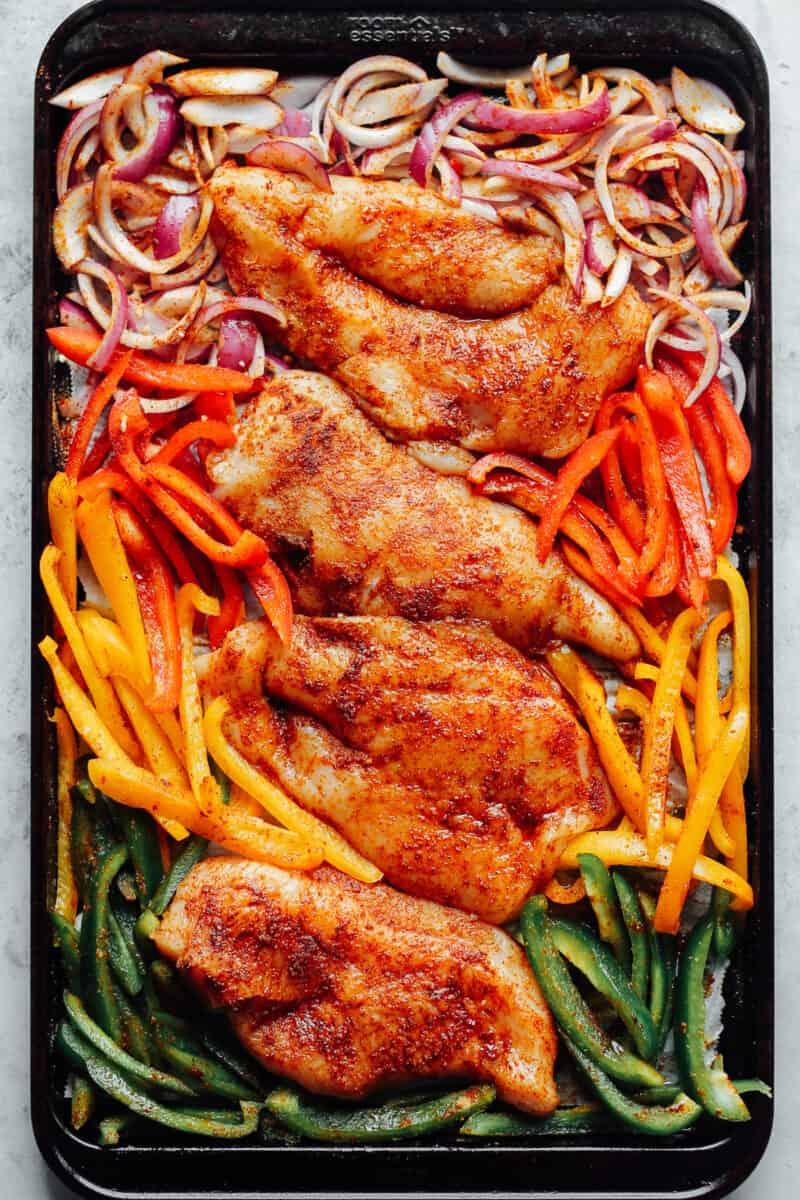 chicken fajitas on sheet pan ready to bake