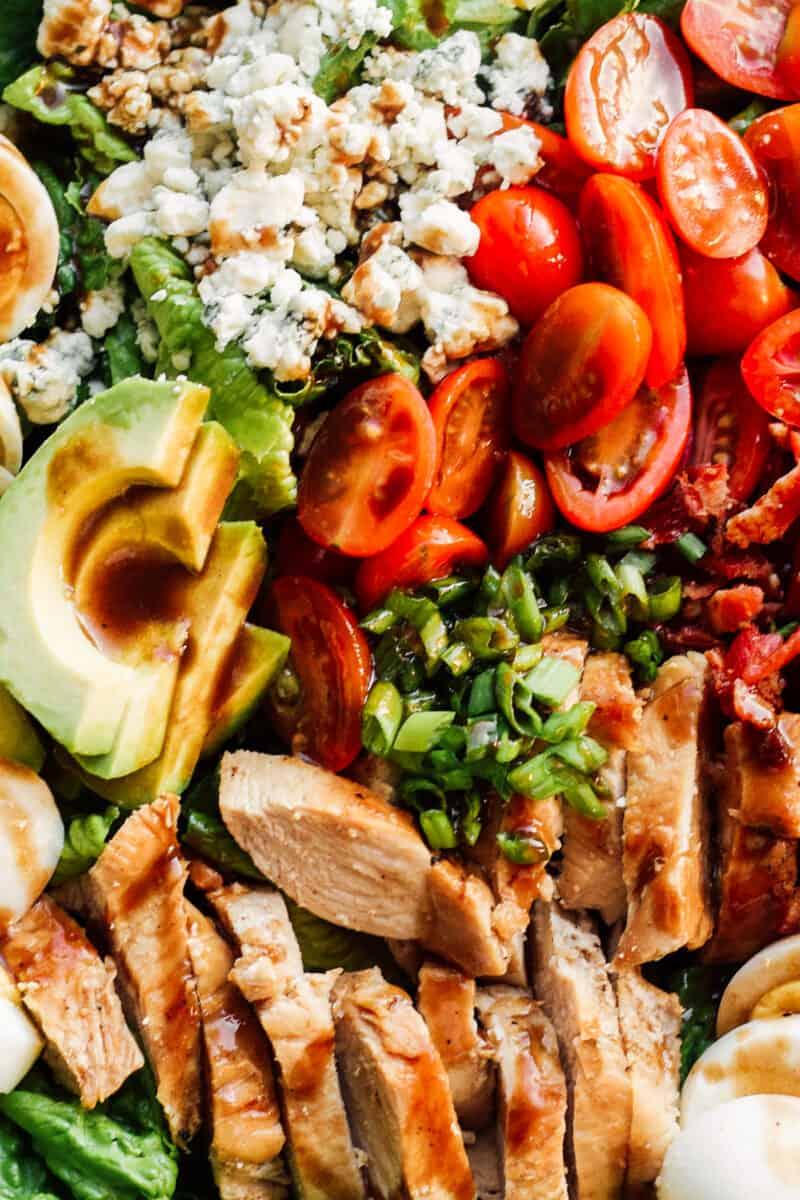 up close dressed chicken cobb salad