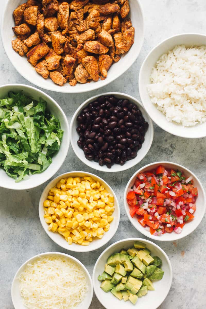 ingredients for making copycat Chipotle Burrito Bowls