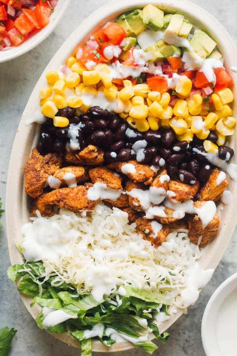 up close image of chicken burrito bowl, chipotle copycat recipe