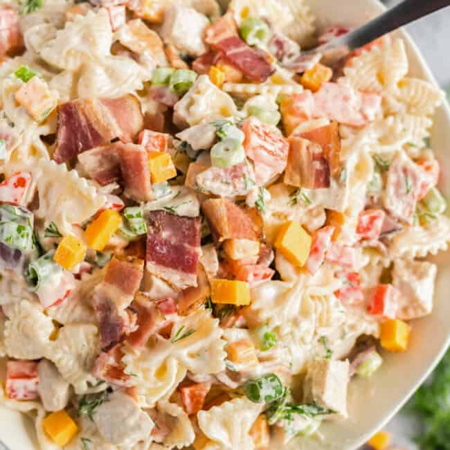chicken bacon ranch pasta salad in a bowl
