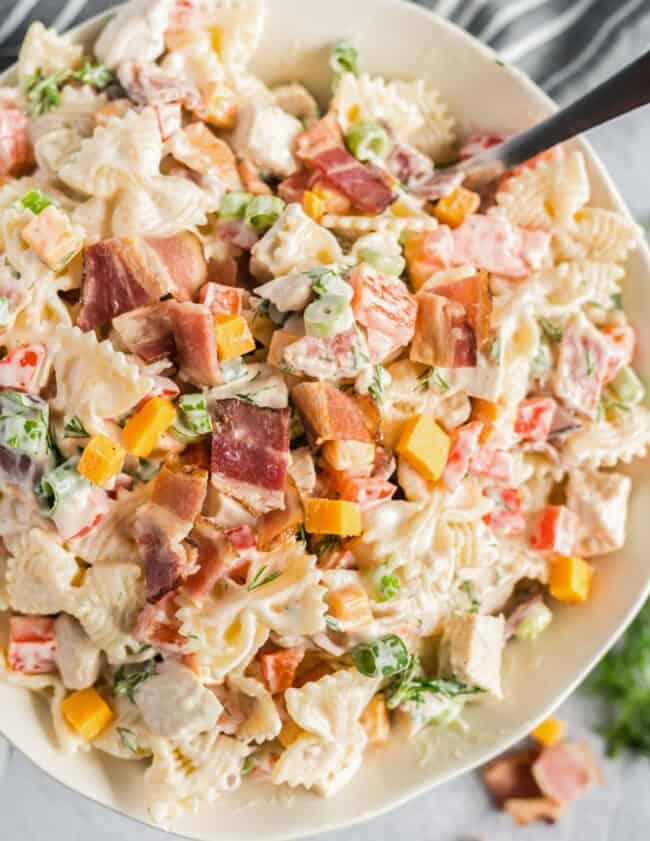 chicken bacon ranch pasta salad in a bowl