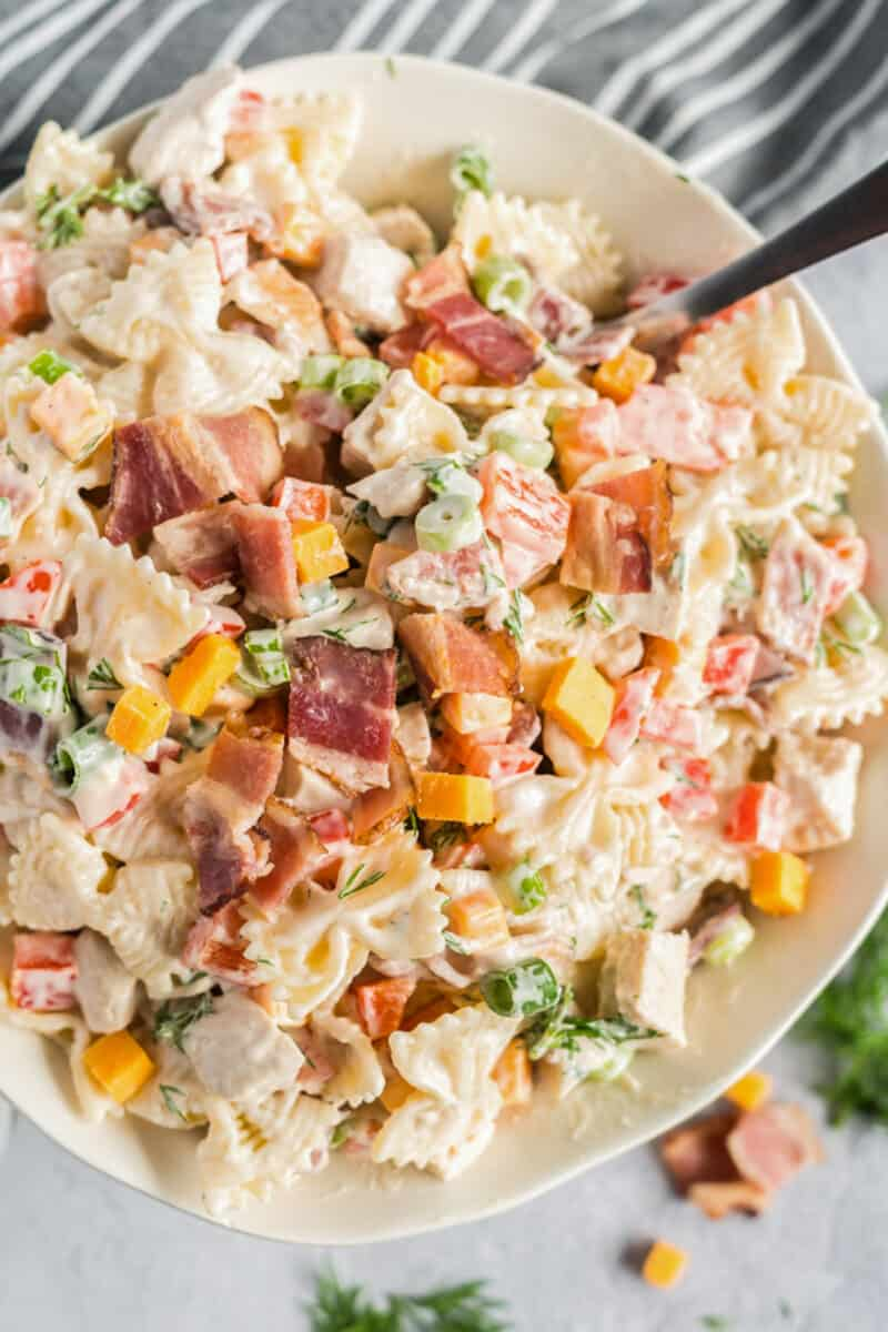 close up of chicken bacon ranch pasta salad in bowl