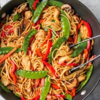 easy chicken lo mein recipe in skillet