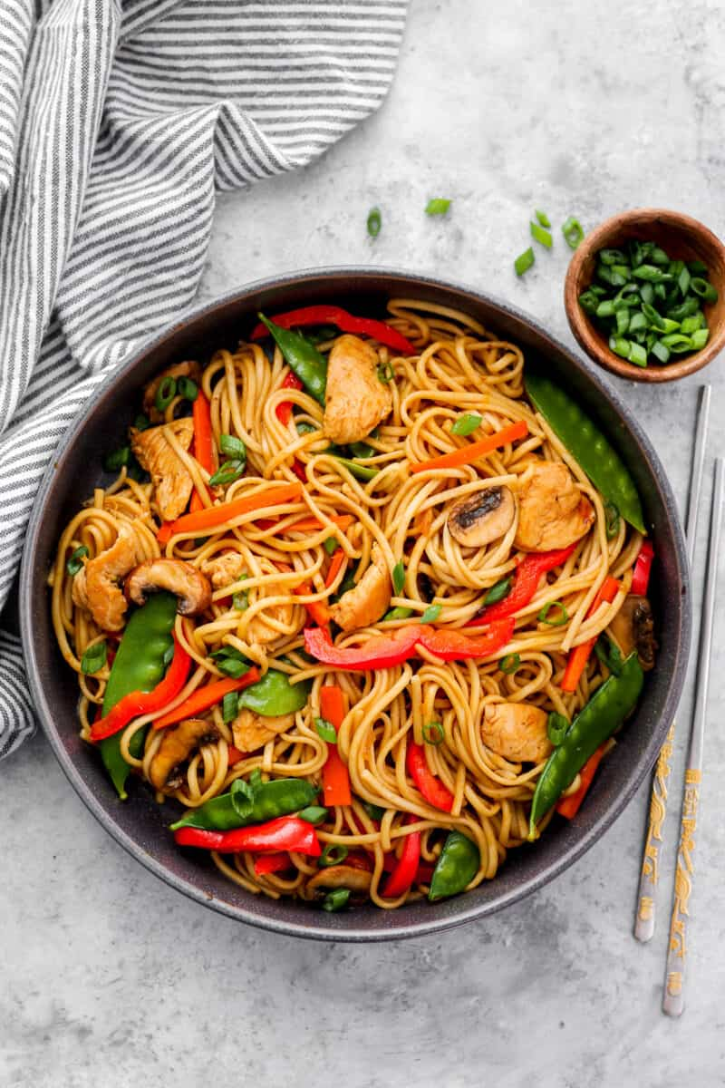 overhead shot of chicken lo mein recipe