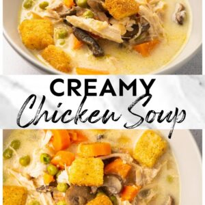 creamy chicken soup pinterest collage