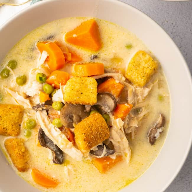 creamy chicken soup topped with croutons