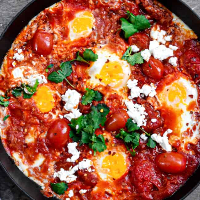 eggs in purgatory in skillet