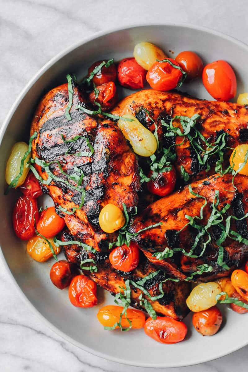 grilled balsamic chicken with tomatoes