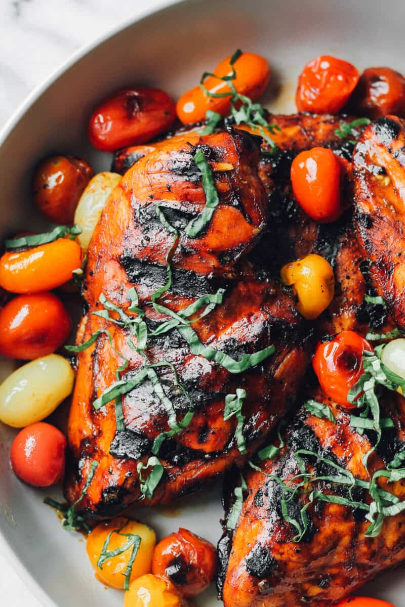 up close image of balsamic chicken from the grill