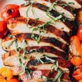 up close image of grilled balsamic chicken thinly sliced