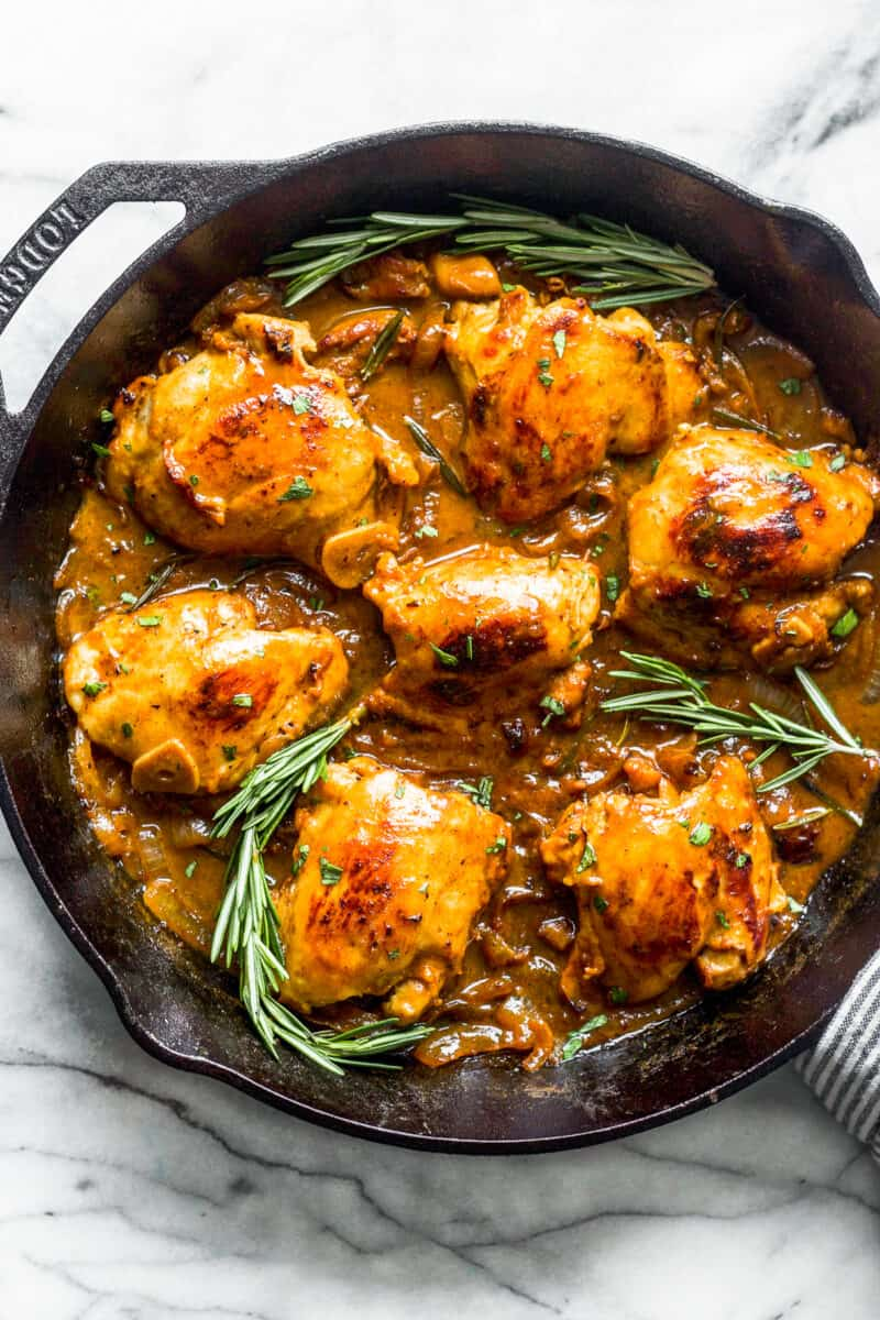 honey mustard chicken thighs in skillet