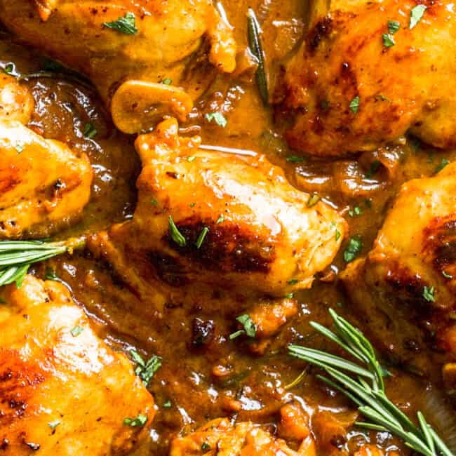 up close image of chicken thighs in honey mustard sauce