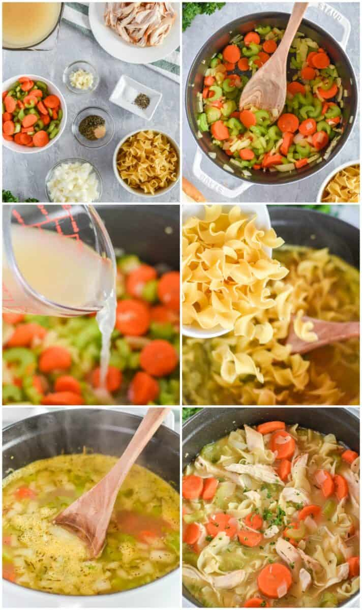 collage of how to make the nest chicken noodle soup