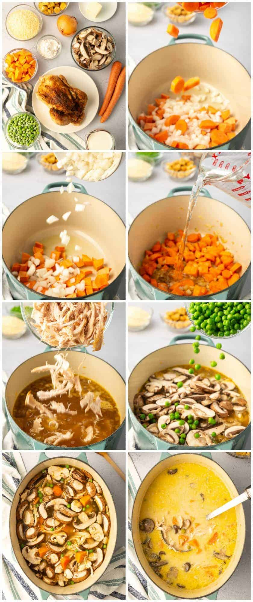 step by step photos of how to make creamy chicken soup