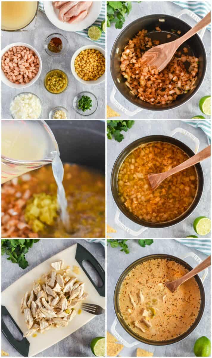 collage of how to make easy white chicken chili
