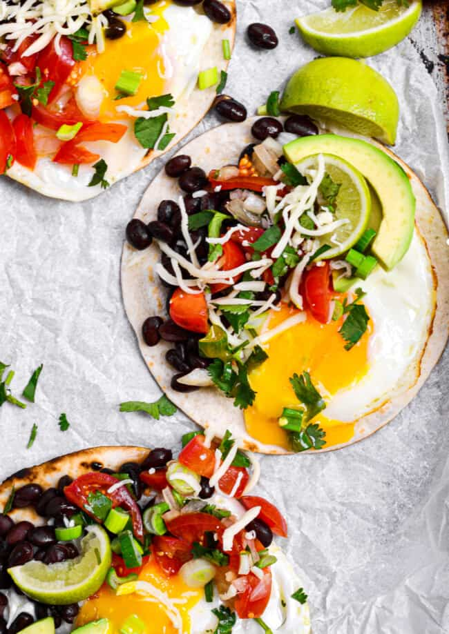 huevos rancheros on parchment