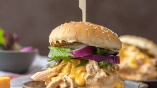 Slow Cooker Rotel Dip Chicken Sandwiches