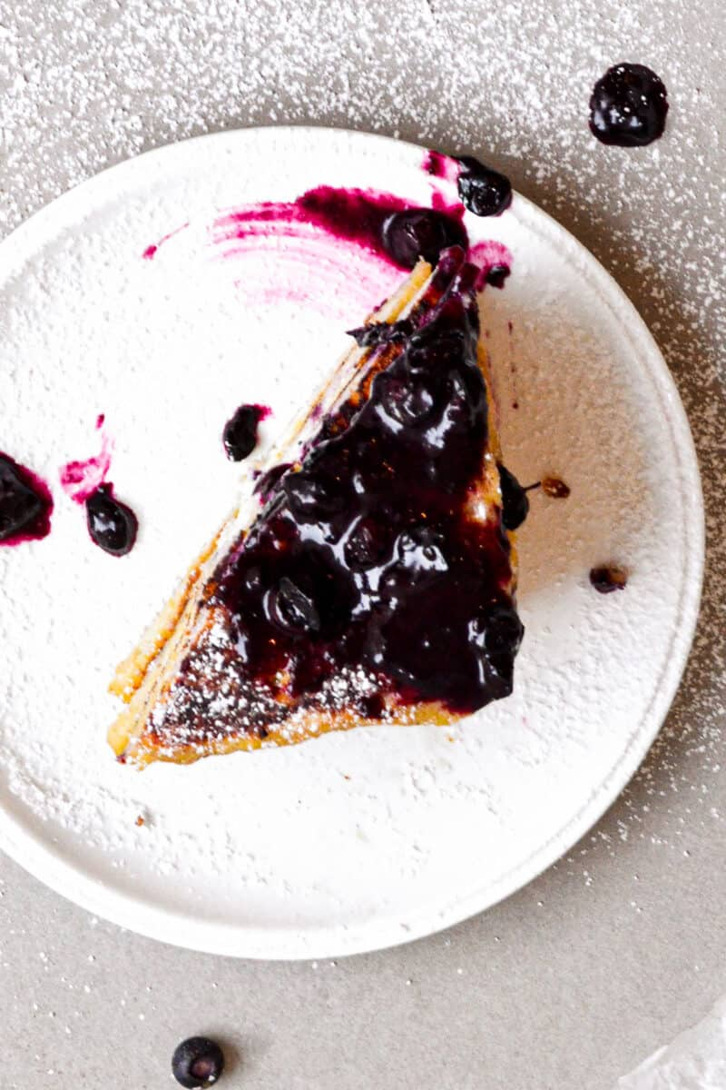top down shot of blueberry sauce on toast
