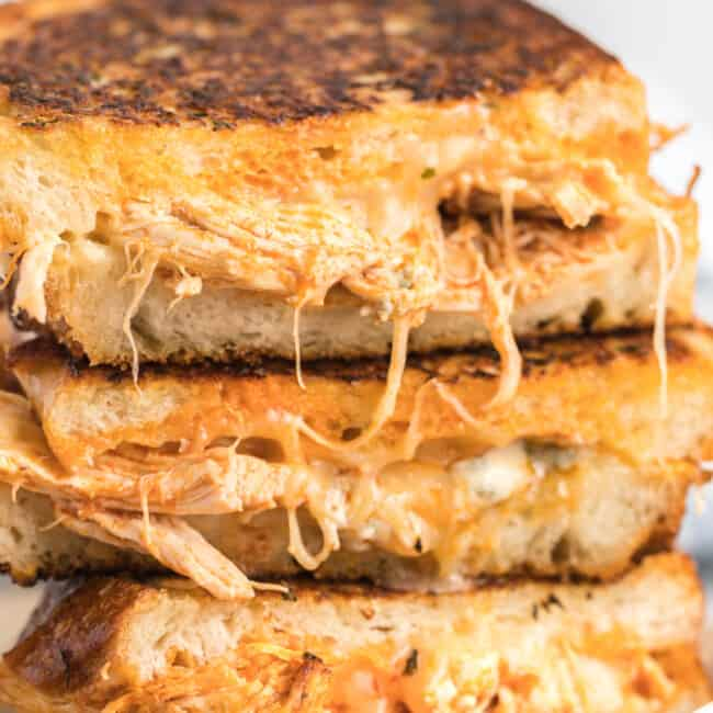 up close image of stacked buffalo chicken grilled cheese
