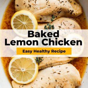 baked lemon chicken pinterest collage