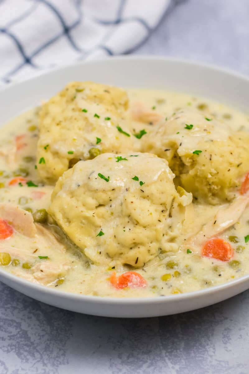 Chicken and dumplings served in a white bowl
