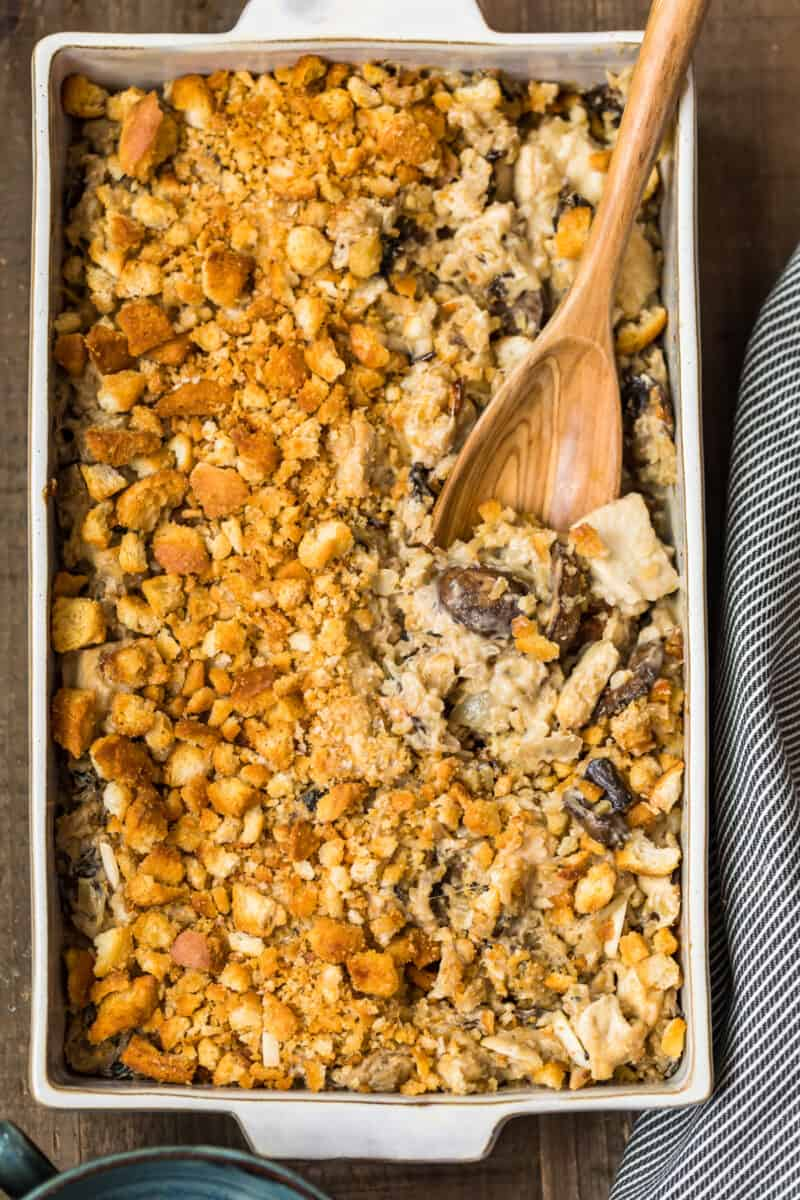 overhead image of casserole dish filled with chicken wild rice casserole