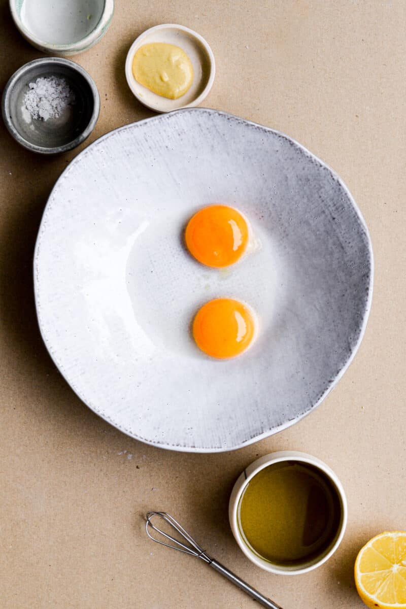 The egg yolks in a bowl