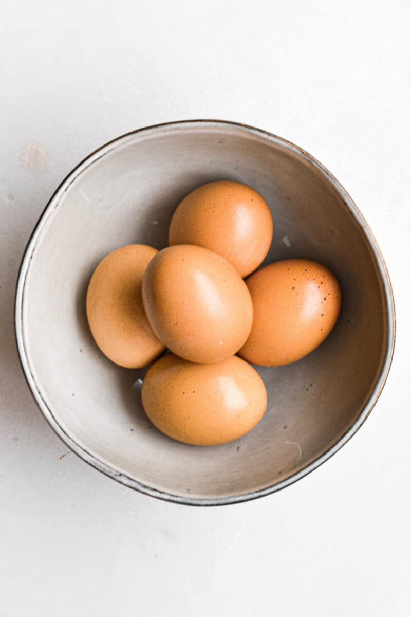 Five eggs in a bowl