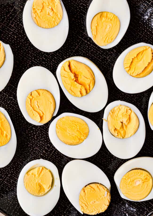 instant pot hard boiled eggs cut in half