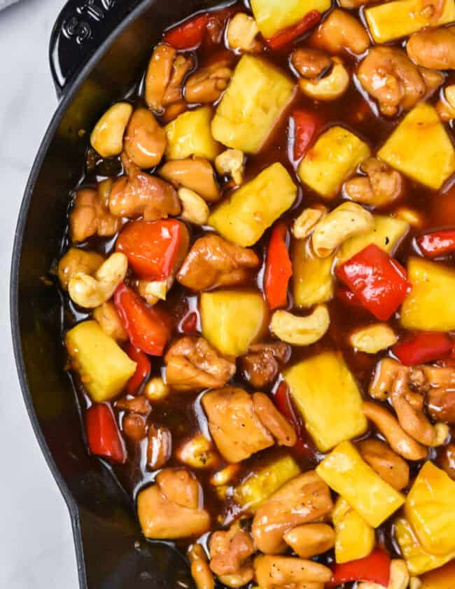 pineapple chicken in skillet
