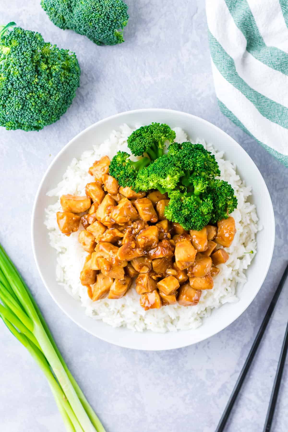 chicken teriyaki with broccoli and rice on plate