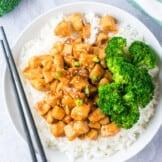 teriyaki chicken over rice with broccoli