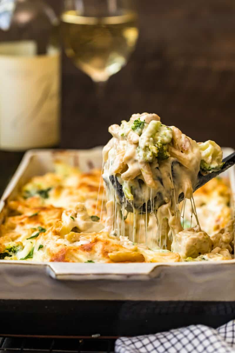 cheesy pasta pulled from dish