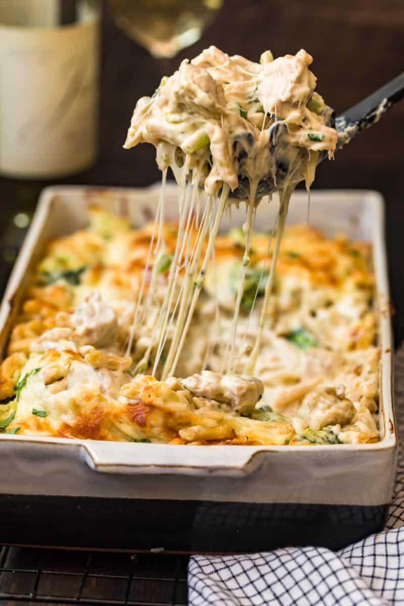spoon with cheesy pasta