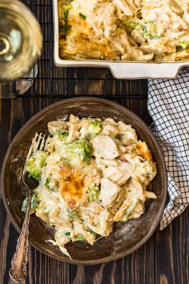 plate with Chicken Alfredo Bake