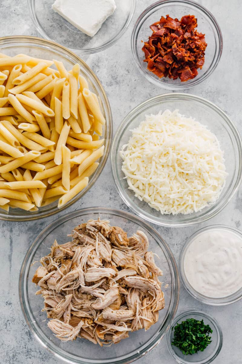 ingredients for chicken bacon ranch pasta bake