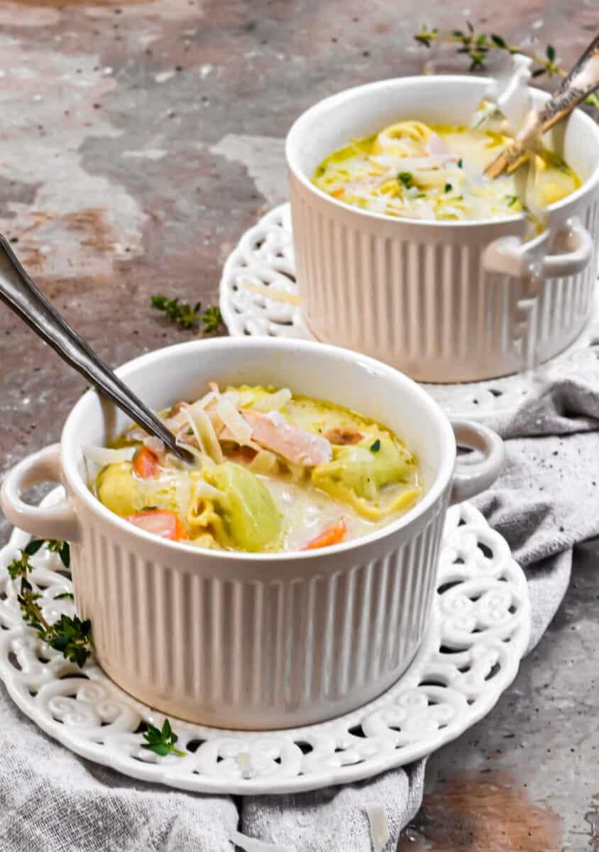 side shot of Chicken Tortellini Soup