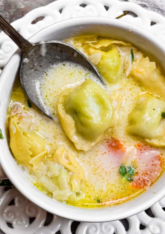 chicken tortellini soup in bowl