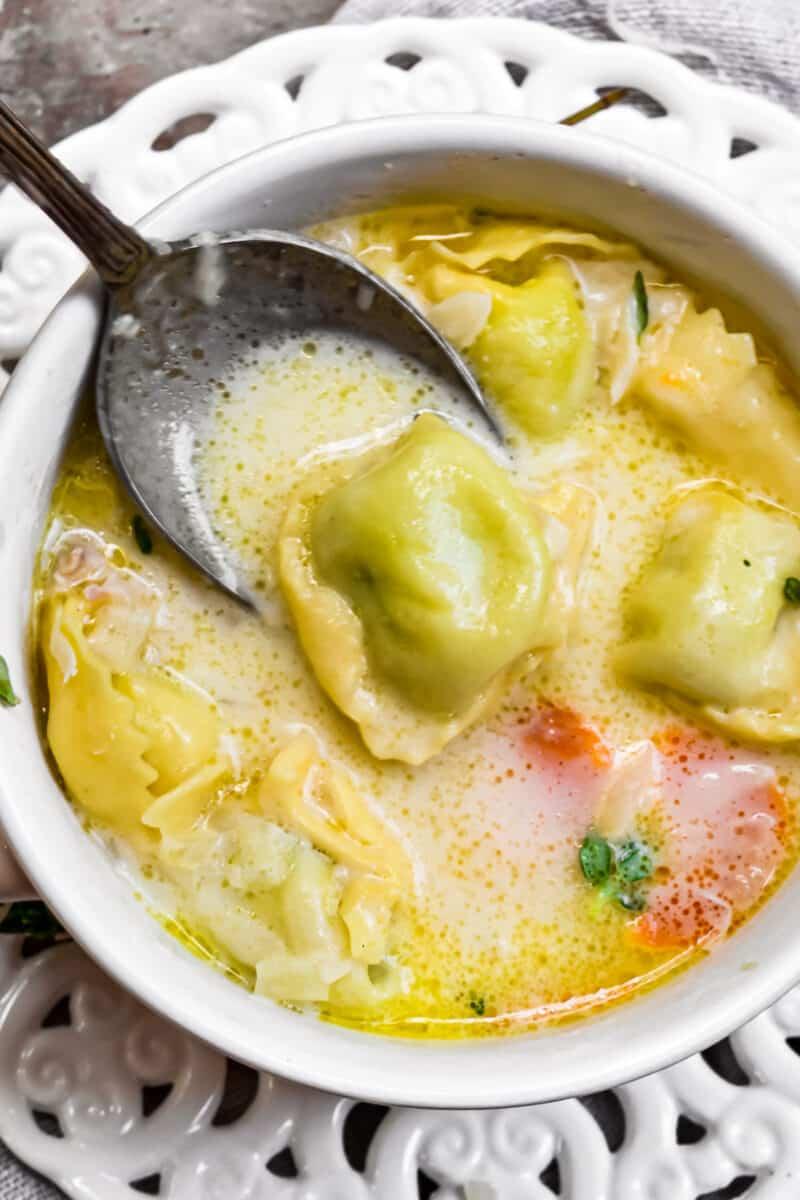 spoon in Chicken Tortellini Soup