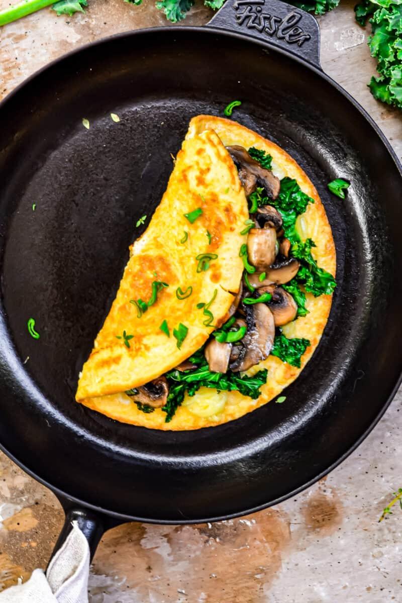 Healthy Omelette folded in pan